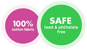 100% cotton fabric SAFE lead & phthalata free