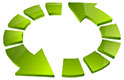 sliced green recycling