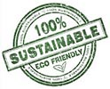 100% SUSTAINABLE ECO FRIENDLY (stamp)