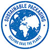 SUSTAINABLE PACKAGING (world, stamp)