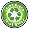 Think Green - recycling (round flat button)